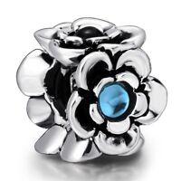 Pop Hot Fashion Charms Blue Bead For Women 925 Sterling Silver Bracelets Bangle