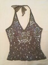 Aftershock Beaded Halter Top Bustier Lace up Back Gray  *L@@K* Size S NWT