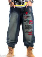New Mens Baggy Loose Jeans Denim Stonewashed Pants Trousers Hip-Hop W30-W46