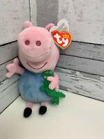 George Pig TY Beanie Soft Plush 6 Inch Toy Brand New Holding Dinosaur Peppa Pig