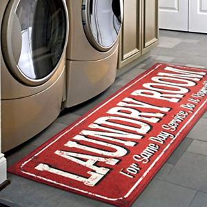 """Laundry Room Rug Ottomanson Runner Rug 20"""" x 59"""" Red Laundromats Mat Carpet New"""