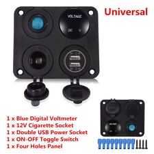 Dual USB Car Charger+LED Voltmeter+12V Power Socket+On-Off Switch 4in1 Panel