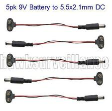 5pk 9V Battery snap-on to 5.5x2.1mm DC Power connection cables (CP12)