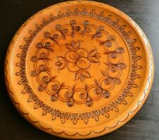 Great decorative hand-carved rustic vintage wooden wall plate