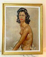 Grande et Élégante huile sur toile portrait signé, dans le goût de Domergue