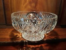 VINTAGE  CRYSTAL GLASS FRUIT BOWL ROUND BEAUTIFULLY CUT HEAVY CHAT CHIC TRENDING