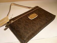 NWT Michael Kors MK Brown PVC Signature Top Zip Large Wristlet Wallet Coin Purse
