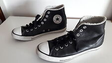 Winter style Converse All stars black leather High  Trainers Size 9 UK / 42.5 EU