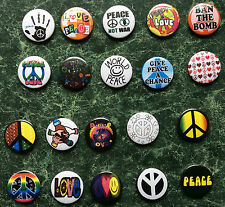 20 X PEACE BUTTON BADGES SET 2 1 INCH/ 25MM CND FANCY DRESS  HIPPY  LOVE NOT WAR