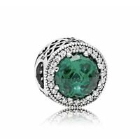Authentic Pandora 791725 Silver 925 ALE Green Radiant Hearts Bead Charm