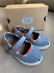 TOMS TINY MARY JANE Blue Chambray Multi Stripes Slip On Toddler Flats Size 6