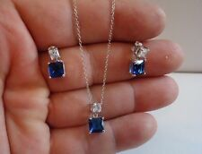 925 STERLING SILVER NECKLACE PENDANT & HANGING STUD EARRINGS W SAPPHIRE/ACCENTS