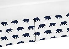 Navy White Twin Size Bed Skirt Dust Ruffle For Sweet Jojo Boys Bear Bedding Set