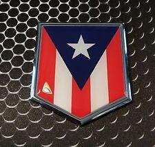 "Puerto Rico Flag Domed CHROME Emblem Proud Flag Car 3D Sticker 2""x 2.25"""