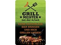 Grillmeister Bei Der Arbeit Letrero de Metal Arqueado Metal Tin Sign 20 X 30CM