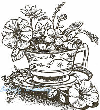 Tea Cup With Flowers Wood Mounted Rubber Stamp NORTHWOODS P1175 New