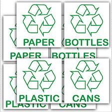 8 X riciclaggio Bin stickers-recycle carta, plastica, lattine, bottles.with LOGO segni