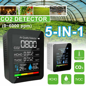 5 IN1 CO2 Meter Carbon Dioxide Detector Air Quality Monitor HCHO TVOC CO2 Tester