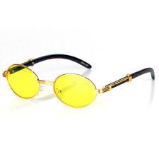Retro Vintage Designer Fashion Oval Sunglasses Shades Buffs Gold Yellow Lens New