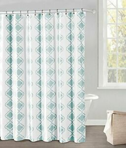 """White and Blue Fabric Shower Curtain: Blue Moroccan Tile Design, 70"""" x 72"""""""