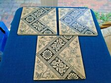 3 X VERY OLD CERAMIC WALL/FIREPLACE TILES WHITE WITH BLUE DESIGNS (T495)