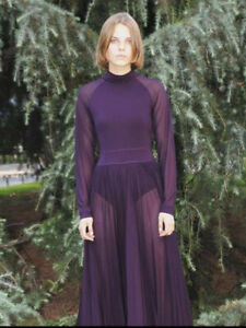 OldCelineArchive * CELINE * 2018 LONG SLEEVE PURPLE HIGH NECK FLARED DRESS (36)