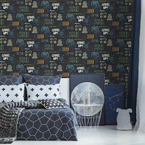 Fresco Game Over Black and Multi Wallpaper