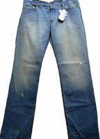 Love Moschino Blue Denim Fashionably Worn Out Mens Jeans Size 40 Italy NEW