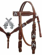Showman Leather Bridle & Breast Collar Set w/ Rawhide & Crossed Gun Conchos! NEW