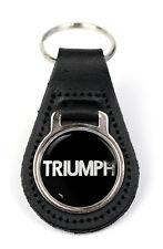 Triumph Leyland Text Logo Quality Black Leather Keyring