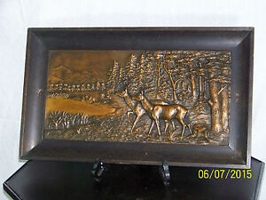 """Fritz Diller """"Large"""" c1900 Bronze Plaque """"2 Deer in Woods""""Arts & Crafts Frame #2"""