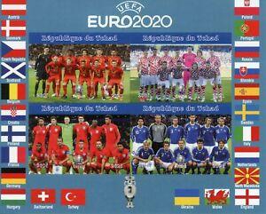 Chad Football Stamps 2021 MNH UEFA Euro 2020 England Soccer Sports 4v IMPF M/S