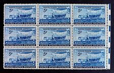 US Stamps, Scott #958 Swedish Pioneer Centennial 1948 5c Block of 9 VF/XF M/NH