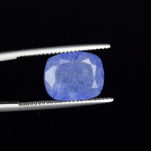 Cushion Cut Natural Blue Tanzanite 5.60 Ct. 12 mm Faceted Loose Gemstone DO-588