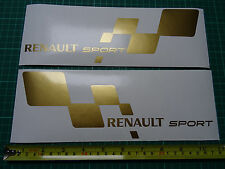 2 x Renault Sport Large Car Vinyl Decals Stickers Fits Clio Williams Megane GOLD