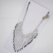 chico's jewelry cubic zirconia rhinestone cluster bib statement black necklace