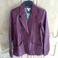 Denin & Co. One Button Wine Leather Jacket With Pin Tuck Detail NWT Size Medium