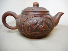 ANTIQUE SMALL CHINESE RELIEF DECORATED TERRACOTTA TEAPOT SIGNED