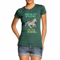 Twisted Envy Women's Funny Delusional Unicorn Funny Cotton T-Shirt