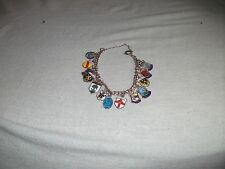 Vintage Sterling Silver Charm Bracelet with 14 Enamel Travel Shield Charms