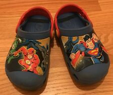 Crocs Marvel Superhero Squad Kids Shoes Blue/Red Superman Flash Batman. Sz 10/11
