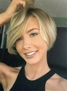 100% Human Hair New Fashion Sexy Women's Short Brown Mix Blonde Straight Wigs