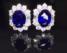 10Ct Oval Cut Created Blue Sapphire Diamond Halo Earrings 14K White Gold Finish