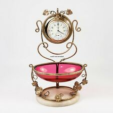 Antique French Cranberry Glass Egg & Ormolu Pocket Watch Stand, Vanity Tray