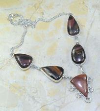 "Handmade Arizona Petrified Wood 925 Sterling Silver Necklace 19.25"" #X5729"