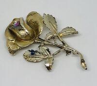 Large Vintage Hollywood Signed Brooch Gold Tone Aurora Borealis Crystal Rose