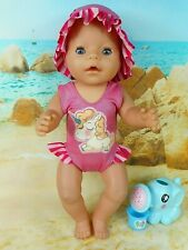 """Dolls clothes for17"""" Baby Born Doll~UNICORN PINK STRIPE SWIMMING COSTUME~SUN HAT"""