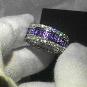 4Ct Baguette Cut Amethyst & Diamond Men's Wedding Band Ring 14K White Gold Over