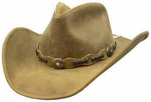 Stetson Roxbury Rust Distressed Shapeable Leather Cowboy Western Hat - Large