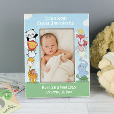 Personalised Baby Animals 6x4 Wooden Photo Frame Babies, Christenings, Newborn